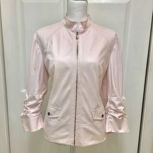 Chico's   Light Pink Zip Up Textured Jacket   Sz L